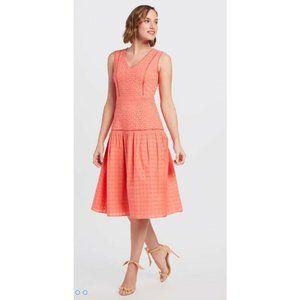 NEW Draper James Coral Pink Lace Eyelet Midi Dress